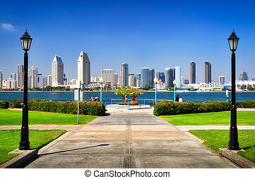 San Diego city view from the park, CA, USA