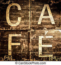 Cafe sign on brown textured background, vintage and retro