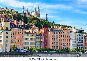 Lyon colorful houses view from Saone river, France