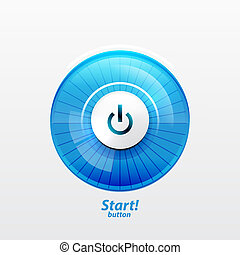 Power button with empty glass screen - Power button. Vector...