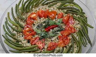 rotating Spelt plate - spelt plate with tomatoes, green...