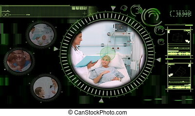 Medical interface showing various clips of doctors working...