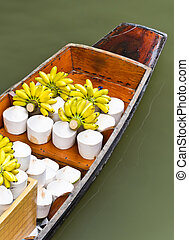 Tropical fruits for sale on floating market