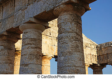 The fronton of the greek temple of Segesta in Sicily