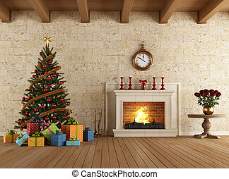 waiting for christmas - Vintage livingroom with...