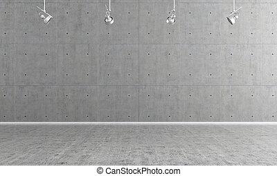 Empty concrete interior - Minimalist empty room with panel...