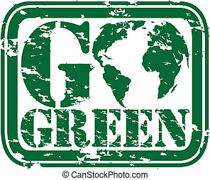 Grunge go green rubber stamp, vecto