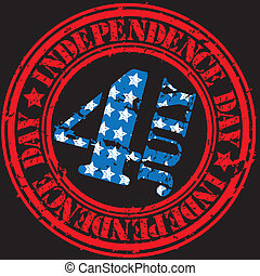 Grunge the 4th july independence day rubber stamp, vector