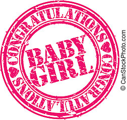 Grunge baby girl rubber stamp