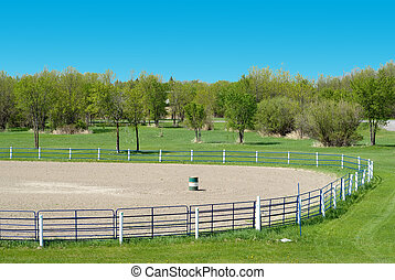 Rodeo Grounds - High view of some empty rodeo grounds on a...