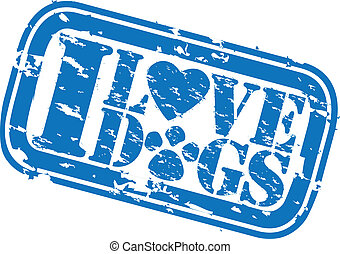Grunge I love dogs rubber stamp, vector