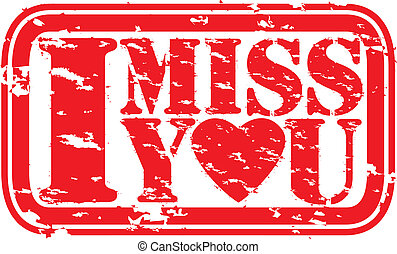 Grunge I miss you rubber stamp, vector