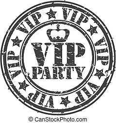 Grunge vip party rubber stamp, vector