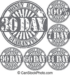 Grunge money back guarantee rubber stamp set, vector