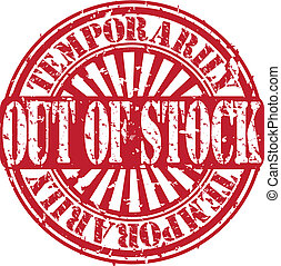 Grunge temporarily out of stock rubber stamp, vector