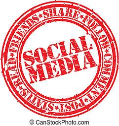Grunge social media rubber stamp,ve