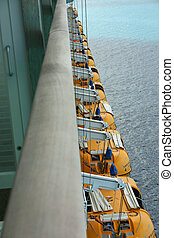 Lifeboats on a Cruise Ship shot with Diminishing Perspective