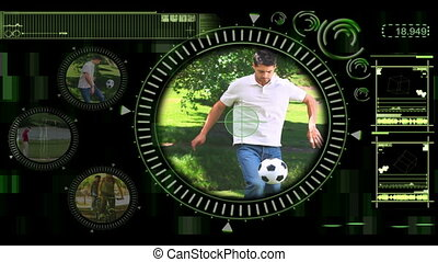 Interface showing various outdoor a - Black and green...