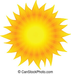 Beautiful sun shining Isolated on white background Vector...