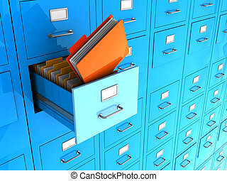 Important information - Blue office wall of files with...