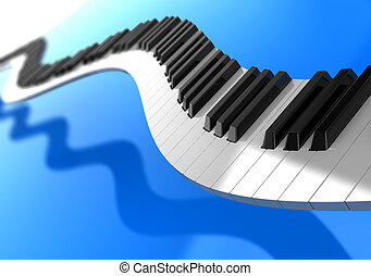 Music - Synthesizer curves over blue background, music...