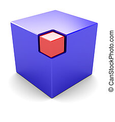 Selection - Blue big cube with red small box in the corner