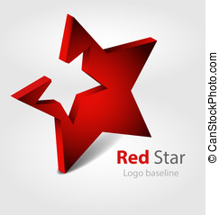 Red star 3D vector logologotype - Originaly designed red...