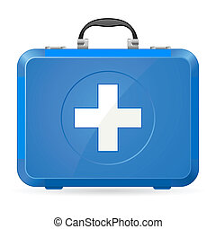 First aid kit - Blue First Aid kit Illustration on white