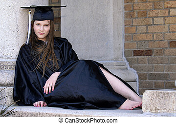 Middle School Grad - Middle school graduate in black cap and...