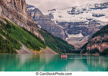 Lake Louise Canoe With Glacier - Photo of canoe on Lake...