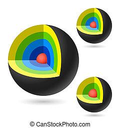 Cutaway spheres set