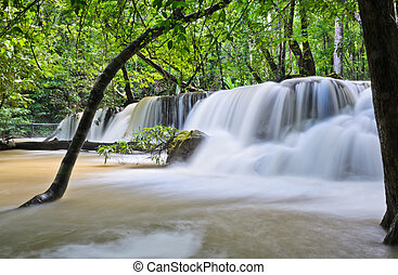 Waterfall in tropical rain forest, Thailand
