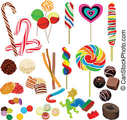 set of different chocolates - many different candies on a...