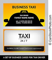 business cards taxi - set