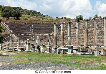 View to the Theater of Asklepion. Pergamum