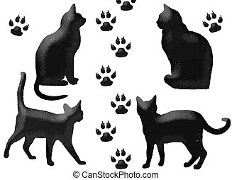 black cats - funy black cats and footprint