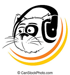 Music symbol - Cat listening to music by headphones
