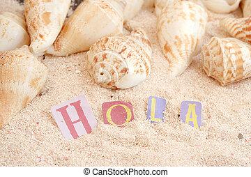 spanish beach - spanish hello hola on sandy tropical beach...