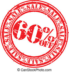 Grunge 60 percent sale off rubber stamp, vector