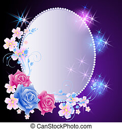 Glowing background with frame and flowers - Glowing...