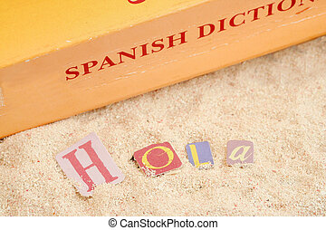 spanish beach - spanish hello \\\\\\\'hola\\\\\\\' on sandy...