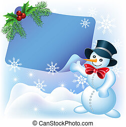 Christmas greetings card with paper and Snowman
