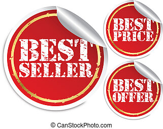 Best seller, best price and best offer, vector