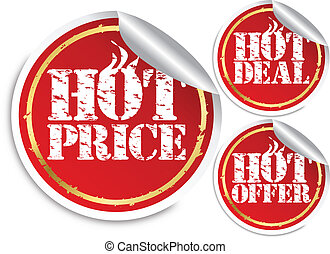 Grunge hot price, hot deal and hot offer sticker, vector