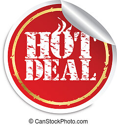 Grunge hot deal sticker,vector