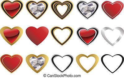 Love icon, golden and diamond heart, vector