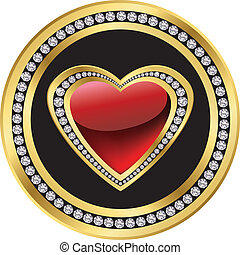 Love icon, golden and diamond heart