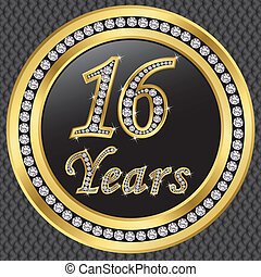 16 years anniversary golden icon with diamonds, vector...