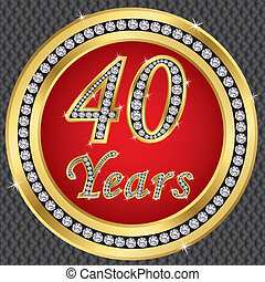 40 years anniversary, happy birthday golden icon with...