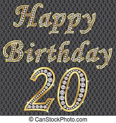 Happy 20 birthday, golden with diamonds, vector
